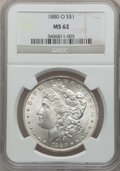 Morgan Dollars: , 1880-O $1 MS62 NGC. NGC Census: (1863/2925). PCGS Population(2458/3508). Mintage: 5,305,000. Numismedia Wsl. Price for pro...