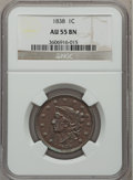 Large Cents: , 1838 1C AU55 NGC. NGC Census: (47/501). PCGS Population (60/329).Mintage: 6,370,200. Numismedia Wsl. Price for problem fre...