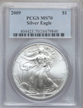 Modern Bullion Coins, 2009 $1 Silver Eagle MS70 PCGS. PCGS Population (20744). NGCCensus: (4538). Numismedia Wsl. Price for problem free NGC/PC...
