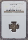 Seated Half Dimes: , 1860-O H10C AU55 NGC. NGC Census: (8/192). PCGS Population(11/177). Mintage: 1,060,000. Numismedia Wsl. Price for problem ...