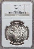 Morgan Dollars: , 1882-O $1 MS64 NGC. NGC Census: (5445/497). PCGS Population(5055/745). Mintage: 6,090,000. Numismedia Wsl. Price for probl...