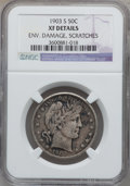 Barber Half Dollars, 1903-S 50C -- Environmental Damage, Scratched -- NGC Details. XF.NGC Census: (1/79). PCGS Population (17/97). Mintage: 1,9...