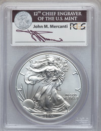 2011-S $1 Silver Eagle, 25th Anniversary Set, First Strike MS68 PCGSEx: Signature of John M. Mercanti, 12th Chief Engrav...