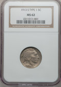 Buffalo Nickels: , 1913-S 5C Type One MS62 NGC. NGC Census: (165/970). PCGS Population(94/1622). Mintage: 2,105,000. Numismedia Wsl. Price fo...