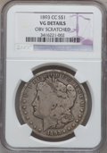 Morgan Dollars: , 1893-CC $1 -- Obverse Scratched -- NGC Details. VG. NGC Census:(110/2979). PCGS Population (155/5435). Mintage: 677,000. N...