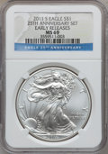 Modern Bullion Coins, 2011-S $1 Silver Eagle, 25th Anniversary Set, Early Releases MS69NGC. NGC Census: (7279/18276). PCGS Population (7045/8123...