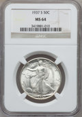 Walking Liberty Half Dollars: , 1937-S 50C MS64 NGC. NGC Census: (416/548). PCGS Population(782/1173). Mintage: 2,090,000. Numismedia Wsl. Price for probl...