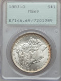 Morgan Dollars: , 1883-O $1 MS65 PCGS. PCGS Population (7256/729). NGC Census:(9639/1013). Mintage: 8,725,000. Numismedia Wsl. Price for pro...