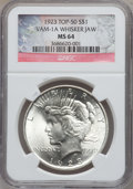 Peace Dollars: , 1923 $1 MS64 NGC. Whisker Jaw, Vam-1A Top-50. NGC Census:(131711/37359). PCGS Population (75499/16845). Mintage:30,800,00...