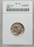 Buffalo Nickels: , 1913 5C Type One MS66 ANACS. NGC Census: (1224/278). PCGSPopulation (1769/455). Mintage: 30,993,520. Numismedia Wsl.Price...