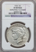 Peace Dollars: , 1928 $1 -- Improperly Cleaned -- NGC Details. XF. NGC Census:(51/5919). PCGS Population (103/8013). Mintage: 360,649. Numi...