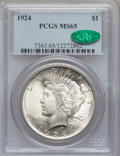 Peace Dollars: , 1924 $1 MS65 PCGS. CAC. PCGS Population (2925/554). NGC Census:(7317/1452). Mintage: 11,811,000. Numismedia Wsl. Price for...