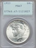 Peace Dollars, 1923 $1 MS63 PCGS, 1924 $1 MS63 PCGS and 1925 $1 MS63 PCGS. Thecurrent Coin Dealer... (Total: 3 coins)