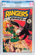 Golden Age (1938-1955):Miscellaneous, Rangers Comics #44 (Fiction House, 1948) CGC VF+ 8.5 Off-white to white pages....
