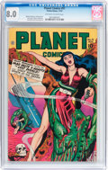 Golden Age (1938-1955):Science Fiction, Planet Comics #51 (Fiction House, 1947) CGC VF 8.0 Off-white towhite pages....