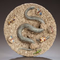 Ceramics & Porcelain, A PORTUGUESE PALISSY-STYLE PLATE . Francisco Gomes de Avelar, Caldas, Portugal, Late 19th century. Marks: F. GOMES D'AVELL...