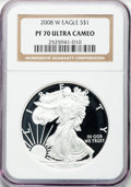 Modern Bullion Coins, 2008-W $1 One Ounce Silver Eagle PR70 Ultra Cameo NGC. NGC Census:(12206). PCGS Population (1367). Numismedia Wsl. Price ...