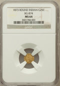 California Fractional Gold: , 1873 25C Indian Round 25 Cents, BG-874, Low R.6, MS64 NGC. NGCCensus: (2/0). PCGS Population (9/3). ...
