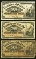 Canadian Currency: , DC-15a 25¢ 1900. DC-15b 25¢ 1900, Two Examples.. ... (Total: 3notes)