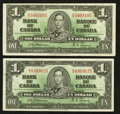 Canadian Currency: , BC-21a $1 1937, Two Examples.. ... (Total: 2 notes)