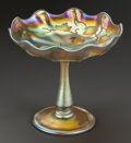 Art Glass:Tiffany , A TIFFANY STUDIOS GOLD FAVRILE FOOTED COMPOTE. Tiffany Studios, NewYork, New York, Early 20th century. Marks: LCT, FAVRIL...