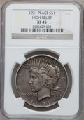 Peace Dollars, 1921 $1 XF45 NGC. Ex: High Relief. NGC Census: (258/11488). PCGSPopulation (363/13432). Mintage: 1,006,473. Numismedia Wsl...