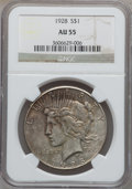 Peace Dollars: , 1928 $1 AU55 NGC. NGC Census: (368/5217). PCGS Population(521/6986). Mintage: 360,649. Numismedia Wsl. Price for problemf...