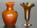 Art Glass:Steuben, A STEUBEN GOLD AURENE GLASS BUD VASE WITH KEW BLAS VASE. SteubenGlass, Corning, New York, Early 20th century . Marks: STE...(Total: 2 Items)