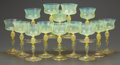 Art Glass:Tiffany , A SET OF THIRTEEN TIFFANY STUDIOS FAVRILE GLASS CHAMPAGNE STEMS.Tiffany Studios, Corona, New York, circa 1900. Marks: L.C...(Total: 14 Items)