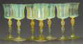 Art Glass:Tiffany , A SET OF SEVEN TIFFANY STUDIOS FAVRILE GLASS WINE STEMS. TiffanyStudios, Corona, New York, circa 1900. Marks: L.C.T., Fav...(Total: 8 Items)