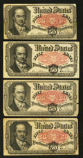 Fractional Currency:Fifth Issue, Fr. 1380 50¢ Fifth Issue Four Examples Very Good or Better.. ...(Total: 4 notes)