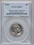 Buffalo Nickels, 1936 5C MS65 PCGS. Ex: Teich Family Collection. PCGS Population(2143/1242). NGC Census: (921/1119). Mintage: 119,001,424. ...