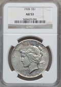 Peace Dollars: , 1928 $1 AU53 NGC. NGC Census: (123/5585). PCGS Population(179/7507). Mintage: 360,649. Numismedia Wsl. Price for problemf...