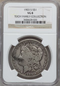 Morgan Dollars, 1903-S $1 VG8 NGC. Ex: Teich Family Collection. NGC Census:(73/1703). PCGS Population (89/2511). Mintage: 1,241,000. Numi...