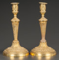 Decorative Arts, French:Lamps & Lighting, A PAIR OF FRENCH EMPIRE-STYLE GILT BRONZE CANDLESTICKS. France,circa 1900. 10-1/2 inches high (26.7 cm). ... (Total: 2 Items)