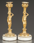 Decorative Arts, French:Lamps & Lighting, A PAIR OF FRENCH NEOCLASSICAL-STYLE GILT BRONZE FIGURALCANDLESTICKS. France, circa 1875. 9-5/8 inches high (24.6 cm). ...(Total: 2 Items)