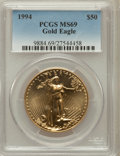Modern Bullion Coins: , 1994 G$50 One-Ounce Gold Eagle MS69 PCGS. PCGS Population (590/1).NGC Census: (603/8). Mintage: 221,633. Numismedia Wsl. P...
