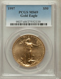 Modern Bullion Coins: , 1997 G$50 One-Ounce Gold Eagle MS69 PCGS. PCGS Population (990/18).NGC Census: (826/65). Mintage: 664,508. Numismedia Wsl....