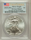 Modern Bullion Coins, 2013-(W) $1 One-Ounce Silver American Eagle, Struck at West PointFirst Strike MS69 PCGS. PCGS Population (7819/11146). NGC...
