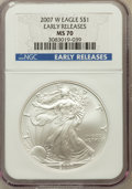 Modern Bullion Coins, 2007-W $1 Silver Eagle Early Releases MS70 NGC. NGC Census:(14078). PCGS Population (3688)....