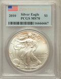 Modern Bullion Coins, 2010 $1 Silver Eagle 25th Year of Issue MS70 PCGS. PCGS Population(45870). NGC Census: (4526). Numismedia Wsl. Price for ...