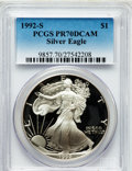 Modern Bullion Coins: , 1992-S $1 Silver Eagle PR70 Deep Cameo PCGS. PCGS Population (551).NGC Census: (771). Mintage: 498,654. Numismedia Wsl. Pr...