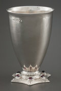 Silver Holloware, British:Holloware, A RAMSDEN & CARR GEORGE V CABOCHON MOUNTED STERLING SILVERGOBLET . Omar Ramsden & Alwyn Carr, London, England, circa1914-1...