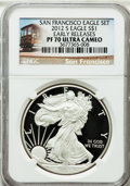 Modern Bullion Coins, 2012-S $1 Silver Eagle, San Francisco Set, Early Releases PR70Ultra Cameo NGC. NGC Census: (0). PCGS Population (4261). N...