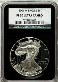 2001-W $1 Silver Eagle PR70 Ultra Cameo NGC. 25th Anniversary Holder.NGC Census: (3533). PCGS Population (1060). Numisme...