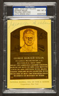 Baseball Collectibles:Others, George Sisler Signed Hall of Fame Plaque Postcard, PSA NM-MT 8....