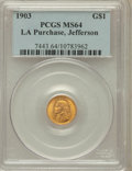 Commemorative Gold: , 1903 G$1 Louisiana Purchase/Jefferson MS64 PCGS. PCGS Population(947/1335). NGC Census: (596/972). Mintage: 17,500. Numism...