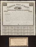 Confederate Notes:Group Lots, Ball 1 Cr. 5 $50 1861 Bond Very Fine. . ...