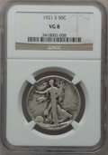 Walking Liberty Half Dollars: , 1921-S 50C VG8 NGC. NGC Census: (90/647). PCGS Population(204/1094). Mintage: 548,000. Numismedia Wsl. Price for problemf...