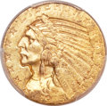 Indian Half Eagles, 1915-S $5 MS62 PCGS. CAC....